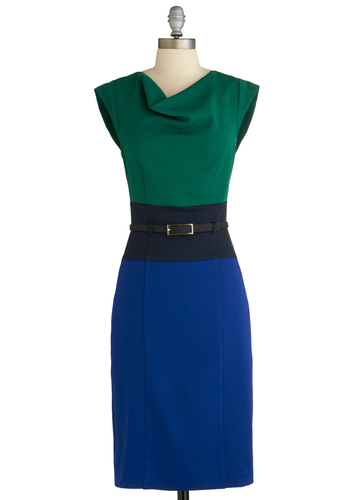 Colorblock Off Your Schedule Dress - Long, Green, Blue, Belted, Work, Colorblocking, Shift, Cap Sleeves, Exclusives