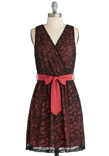 Embers Game Dress - Mid-length, Pink, Black, Print, Belted, Party, A-line, Sleeveless, Prom