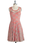 Reveal Vibrance Dress - Sheer, Short, Pink, Grey, Floral, Lace, Daytime Party, A-line, Sleeveless, Coral