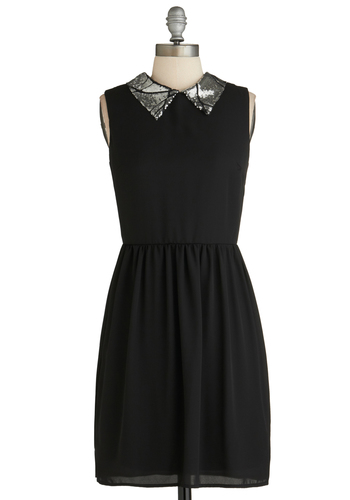 Silver Screen Chic Dress - Mid-length, Solid, Sleeveless, Black, Sequins, Collared, Party