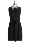 Silver Screen Chic Dress - Mid-length, Solid, Sleeveless, Black, Sequins, Collared, Party, Exclusives