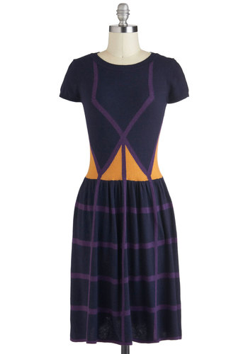 Go Down That Road Dress in Windows - Mid-length, Yellow, Blue, Purple, Print, Casual, Sweater Dress, Cap Sleeves, Fall
