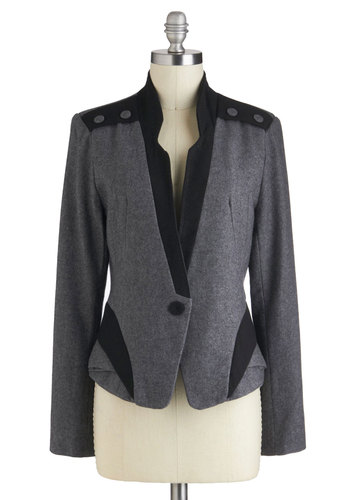 Keynote to Self Blazer - Grey, Black, Buttons, Pockets, Menswear Inspired, Mid-length, 2