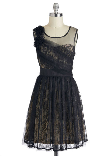 Flair of Mystery Dress by Ryu - Black, Lace, A-line, Sleeveless, Sheer, Mid-length, Tan / Cream, Cocktail, Wedding, Party