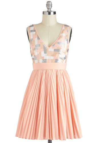 Pastel, Present, and Futuristic Dress - Pink, Grey, White, Pleats, Sequins, Party, A-line, Sleeveless, Mid-length, Backless, Pastel, V Neck, Prom, Holiday Party