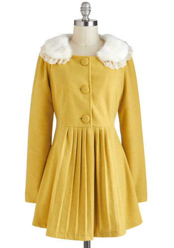 Silence is Goldenrod Coat - Yellow, Tan / Cream, Buttons, Lace, Pleats, Long Sleeve, Long, 2, Winter