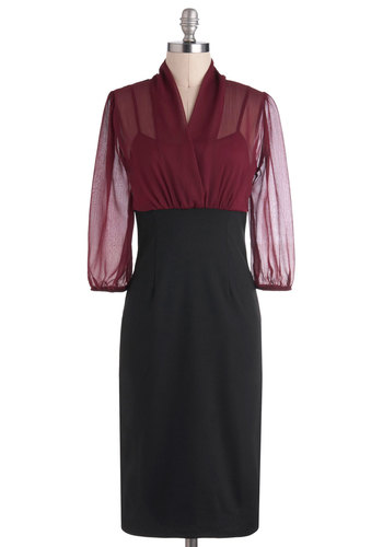 The Cheryl Dress - Sheer, Black, Red, Work, Shift, Long Sleeve, Fall, Twofer, Long