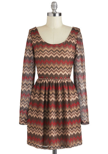 Strumming Symmetry Dress - Sheer, Short, Multi, Red, Brown, Tan / Cream, Print, Backless, Casual, Boho, Folk Art, Long Sleeve, Fall