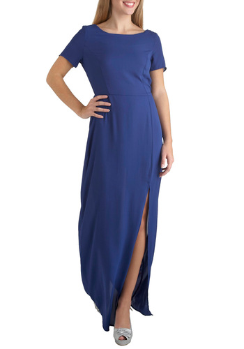 Waterfall in Place Dress - Sheer, Long, Blue, Solid, Cutout, Special Occasion, Wedding, Party, Vintage Inspired, Short Sleeves