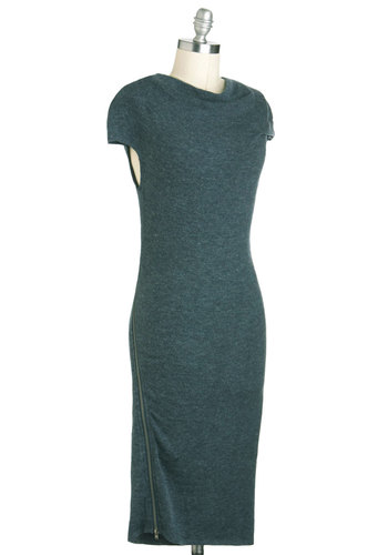 The Comforts of Haute Dress - Long, Solid, Exposed zipper, Casual, Cap Sleeves, Green, Winter
