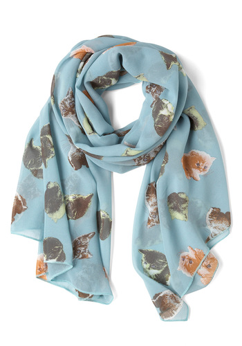 Meow-a-Days Scarf - Blue, Multi, Print with Animals, Casual, Quirky