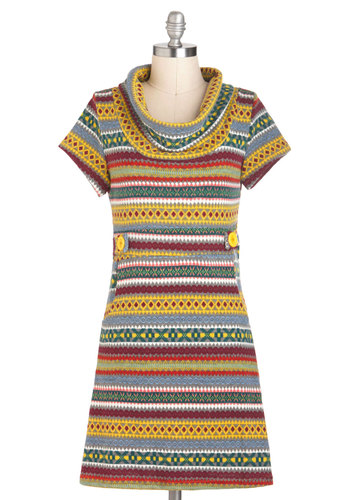 Level Up Dress - Multi, Red, Yellow, Green, Blue, Grey, White, Print, Pockets, Casual, Rustic, Sweater Dress, Short Sleeves, Short, Boho, Vintage Inspired, 60s, Fall