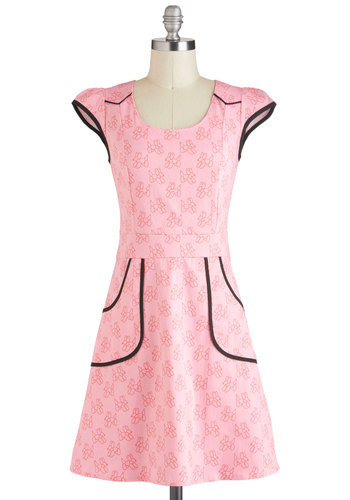 Westward Journey Dress in Balloons by Nooworks - Pink, Black, Print with Animals, Pockets, Casual, Rockabilly, A-line, Cap Sleeves, Spring, Mid-length, Luxe, Statement, Cotton, Variation