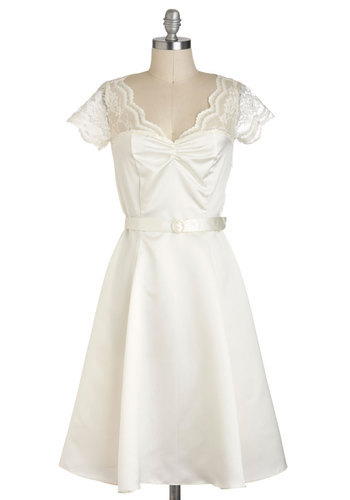 Black Tie Optimal Dress in Ivory - Long, Solid, Lace, Belted, Formal, Wedding, Film Noir, Vintage Inspired, Luxe, Fit & Flare, Short Sleeves, White, Variation, 50s, 60s, Bride