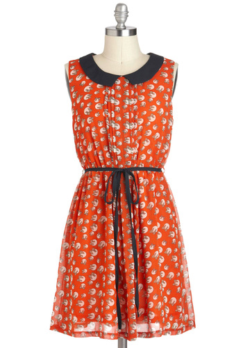 Heirloom Shop Owner Dress - Orange, Blue, Novelty Print, Peter Pan Collar, Pleats, Casual, A-line, Sleeveless, Collared, Short