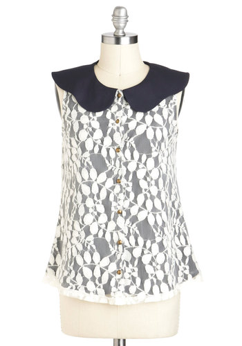 Fern Your Way Top - Black, White, Lace, Sleeveless, Collared, Mid-length, Party, Work