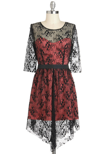 Lace is Glamour Dress - Pink, Black, Lace, Cocktail, A-line, High-Low Hem, Long Sleeve, Sheer, Short, Film Noir, Vintage Inspired