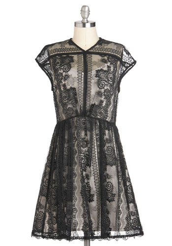 Echoes of Elegance Dress - Lace, Party, A-line, Cap Sleeves, Mid-length, Sheer, White, French / Victorian, Black, Holiday Party
