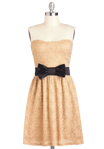Center Beige Dress - Black, Bows, Lace, A-line, Strapless, Mid-length, Tan, Party, Sweetheart