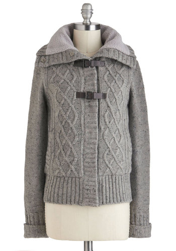 Takes Me Buckle Jacket - Grey, Brown, Buckles, Knitted, Long Sleeve, Mid-length, 2, Pockets, Menswear Inspired, Fall