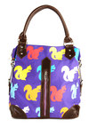 Squirrels Just Wanna Have Fun Bag - Purple, Multi, Print with Animals, Exposed zipper, Pockets, Colorblocking, Top Rated