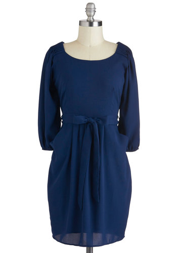 Navy Been Better Dress - Blue, Solid, Pleats, Work, A-line, Long Sleeve, Short, Pockets