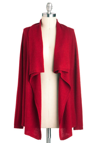 Red Guiding Cardigan - Mid-length, Red, Solid, Casual, Long Sleeve, Fall