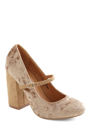 She Wore True Velvet Heel in Champagne - Tan, Solid, Mid, Luxe, Mary Jane, Chunky heel, Holiday Party