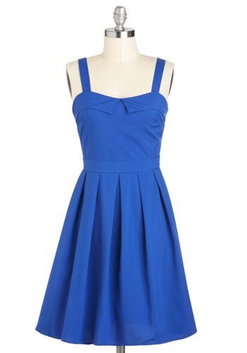 Breakfast Special Dress in Blue - Mid-length, Blue, Solid, Pleats, Casual, Daytime Party, Vintage Inspired, 50s, Fit & Flare, Tank top (2 thick straps), Spring