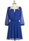 My Trio My Dress in Royal Blue - Solid, Cutout, Casual, A-line, 3/4 Sleeve, Mid-length, Blue