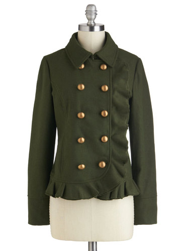 British Breakfast Jacket in Olive - 3, Green, Buttons, Work, Military, Long Sleeve, Ruffles, Double Breasted, Pockets, Casual, Winter, Mid-length
