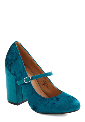 She Wore True Velvet Heel in Turquoise - Blue, Solid, Mid, Luxe, Mary Jane, Chunky heel, Holiday Party