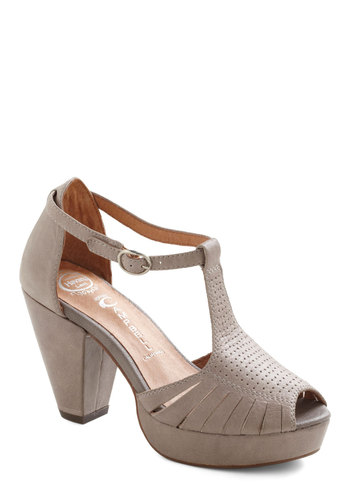 All In One Mauve Heel by Jeffrey Campbell - Tan, Solid, Mid, Peep Toe, Leather, Best, T-Strap, Work, Casual