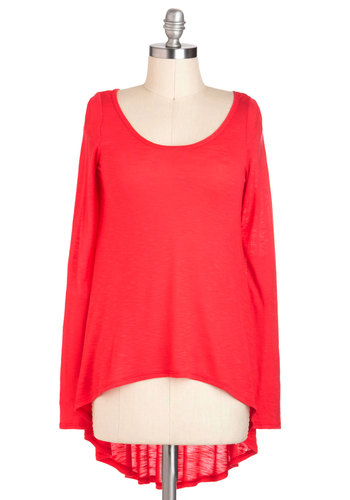 Casual Fashionista Top - Red, Solid, Casual, Long Sleeve, Mid-length, Minimal, Coral, Scoop