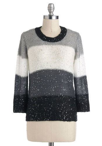 All That Dazzle Sweater - Mid-length, Grey, Black, White, Casual, Long Sleeve, Fall, Menswear Inspired, Crew
