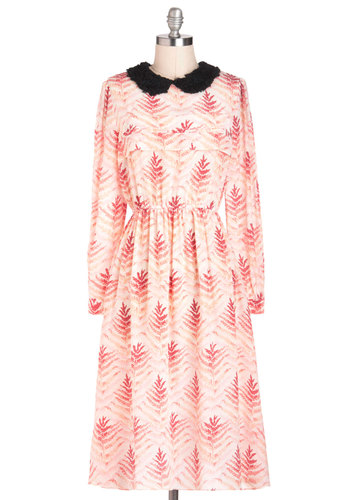 Rachel Antonoff Fernery Frolic Dress by Rachel Antonoff - Multi, Pink, Tan / Cream, Black, Print, Peter Pan Collar, Casual, Long Sleeve, Fall, Long, Luxe, Sheath / Shift