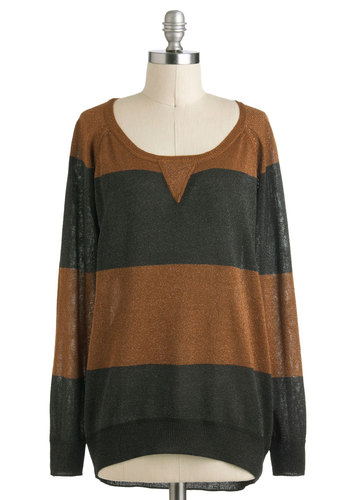 Night and Dazzle Sweater - Mid-length, Green, Brown, Casual, Long Sleeve, Fall, Menswear Inspired