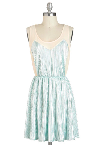 Love at Frost Sight Dress - Mint, Tan / Cream, Party, A-line, Sleeveless, Chiffon, Sheer, Short, Pleats, Statement