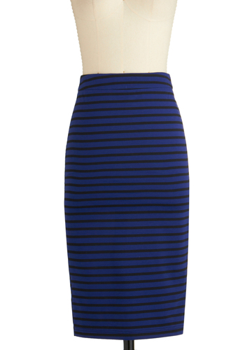A Competitive Edginess Skirt - Long, Blue, Black, Stripes, Casual, Pencil, Exposed zipper, Exclusives