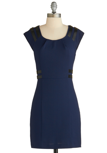 Layover Lovely Dress - Short, Blue, Solid, Buckles, Sheath / Shift, Cap Sleeves, Party, Exclusives, Travel