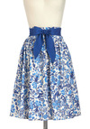 Designer Dreams Skirt in Floral - Blue, Tan / Cream, Floral, A-line, Cotton, Mid-length, Belted, Work, Casual, Daytime Party, Fairytale, Spring, Vintage Inspired, 40s, 50s