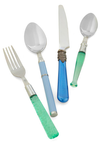 Mix & Munch Flatware Set in Ocean - Blue, Green, Dorm Decor, French / Victorian, Tis the Season Sale, Daytime Party, Best Seller, Best Seller, Better, Wedding, Hostess, Nautical, Good, Vintage Reserve