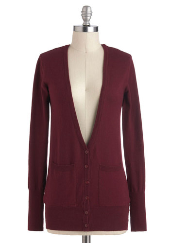 Favorite Topping Cardigan - Cotton, Mid-length, Red, Solid, Buttons, Pockets, Casual, Scholastic/Collegiate, Long Sleeve