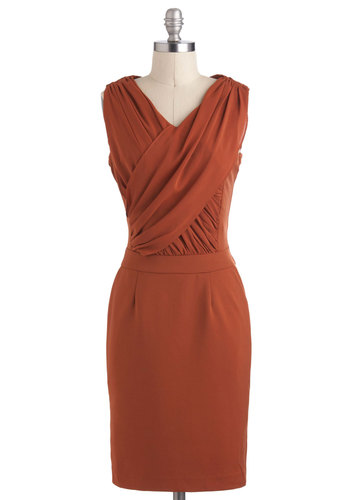 What's the Rust Dress - Mid-length, Orange, Solid, Ruching, Shift, Sleeveless, V Neck, Cocktail, Pockets
