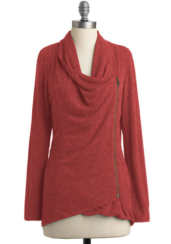 Airport Greeting Cardigan in Paprika - Orange, Solid, Casual, Long Sleeve, Pockets, Minimal, Fall, Mid-length, Jersey