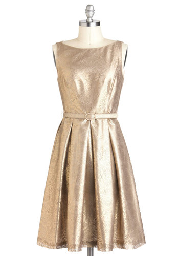 Shine and Dine Dress - Mid-length, Gold, Solid, Pockets, Belted, Holiday Party, Vintage Inspired, 50s, Luxe, Fit & Flare, Sleeveless, Cocktail, Formal