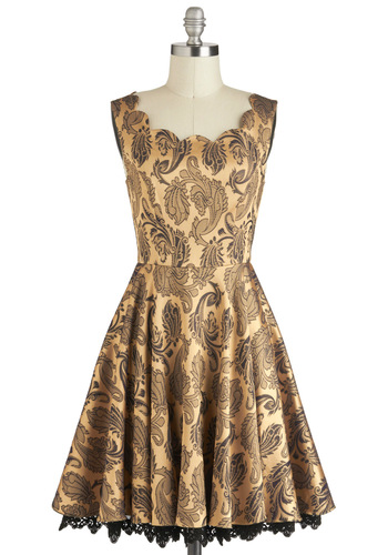 Twirl of the Moment Dress - Brown, Black, Print, Scallops, Sleeveless, Gold, Trim, Cocktail, Fit & Flare, Holiday Party, Film Noir, Mid-length, Vintage Inspired