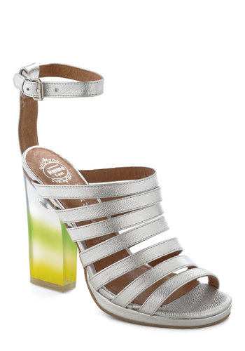 Rainbow Where You Please Heel in Silver by Jeffrey Campbell - Silver, Multi, High, Leather, Party, Girls Night Out, Urban