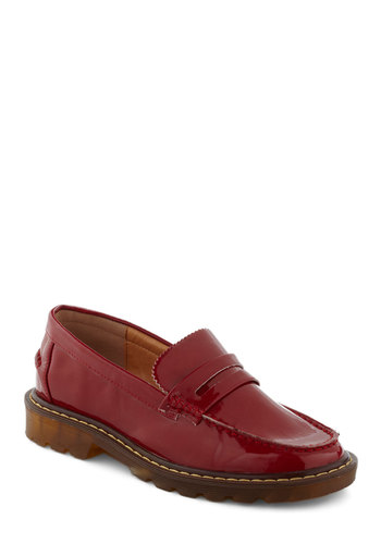 Friends in Loafer Places Flat - Red, Solid, Menswear Inspired, Flat, Vintage Inspired, 90s