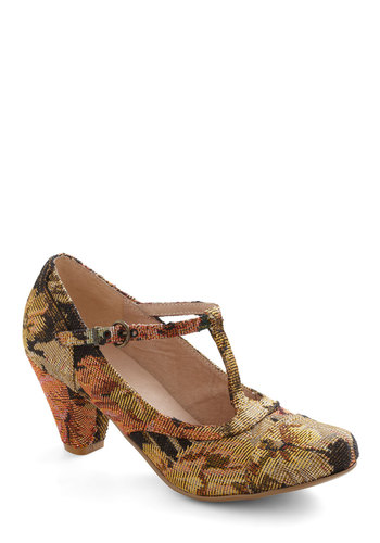 Just Like Honey Heel in Bouquet by Chelsea Crew - Multi, Floral, 40s, Mid, Leather, Party, Work, Variation, Better, T-Strap